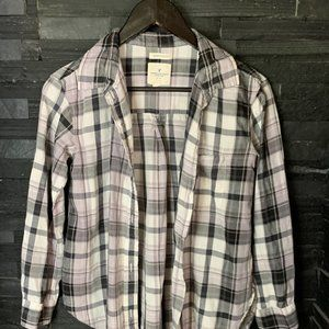 AEO Over-sized Fit Plaid Button-down - EUC - S